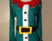 Womens Custom Altered Ugly Christmas Elf Long Sleeve T Shirt- XS S M L XL