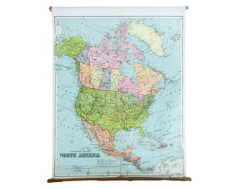 DISCOUNTED Antique W & AK Johnston Pull Down Map of North America