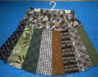 Upcycled, Earth Tone Skirt  32-35 inch waist.