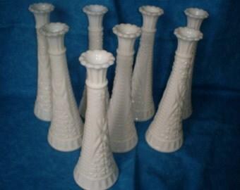 SALE  Set of 8 Vintage, Set of Milk Glass Vases.   #8  Was 24.00.