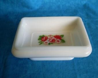 SALE  Vintage, Avon Milk Glass Soap Dish.