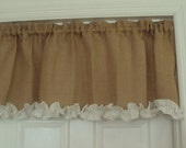 French Grainsack Burlap 1pc Custom Made Rod Pocket Curtain Topper Window Valance Drapery Treatments