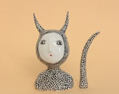 Surrounded by spikes  - ceramic little sculpture - one of a kind sculpture