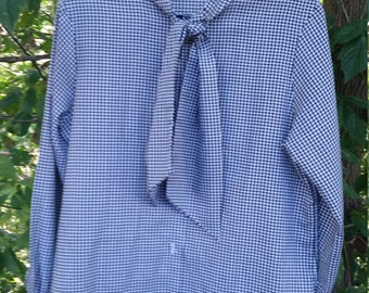 Ladies Vintage Neck Tie Houndstooth Blouse size medium