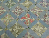 """Quilt top: 1950's pinwheels and stripes cotton scrappy quilt top  74"""" x 84"""""""