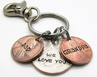 Personalized Grandpa KeyChain, Hand Stamped KeyChain, Personalized Keychain, Custom Penny with State Quarter, Personalized Grandparent Gift