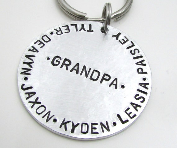 Fathers Day Gift - Hand Stamped Key Chain - Personalized with Names of Your Choice - Personalized Keychain -  Gift for Grandpa Dad (010)