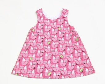 reversible baby a-line dress girls a-line dress baby pinafore dress girls pinafore dress baby girl Christmas dress fox