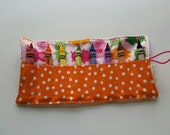 JUMBO TODDLER Crayon Roll, Crayon Holder, Pigs on Pink with Orange Polka Dot Pocket, Holds 8 Jumbo Toddler Crayons, Ready to Ship