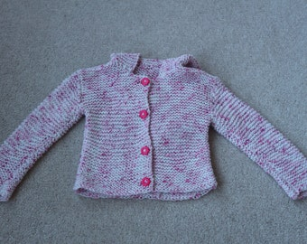 Pretty handknit pink white cotton hooded cadigan with floral fuscia buttons