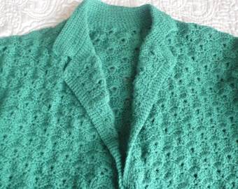 Forest green crochet collared vintage wool cardigan L
