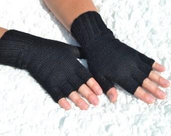 Black half finger gloves,hand-knitted half finger gloves,handmade black gloves,baby alpaca and silk yarn gloves, black women's gloves
