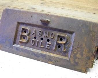 Rusty Old Cast Iron Furnace Boiler Door