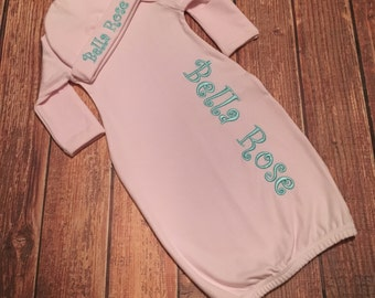 Baby Girls Personalized Gown and Hat