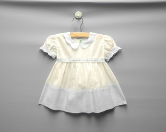 Vintage Baby Clothes, 1940's Alfred Leon Pale Blue and White Baby Girl Dress, Vintage Baby Dress, Blue and White Baby Dress, Size 3-6 Months