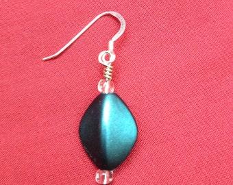 Simple Elegance: Handmade Teal Beaded Earrings