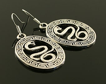 Antique silver snake metal earrings , sterling silver wires, snake charms