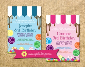 Candy Inspired Birthday Invitation    Any Colors, Sweet Treats Lollipop Boy  Girl Invite Candy