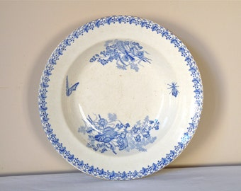 Shabby French Antique Serving Platter With  Wildflowers  and Butterfly - Wild Flower - Blue Flower Serving dish