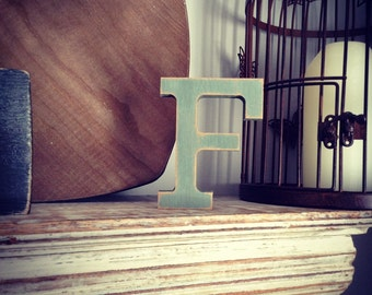 Hand-painted Wooden Letter F - Freestanding - Rockwell Font - Various sizes, finishes and colours - 30cm