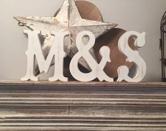 Freestanding Wooden Wedding Letters, Set of 3 - 20cm - Western Style Font, Carnival
