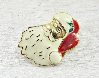 Vintage SANTA CLAUS Brooch Pin, Christmas Brooch Pin, Gold Santa Brooch, 1950s Holiday Costume Jewelry, Christmas Gift for Mom Grandma
