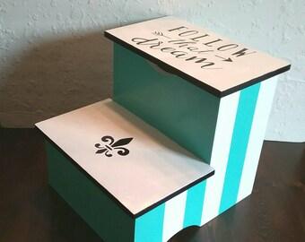 Damask Stepstool - Fleur De Lis - Kitchen Stool - Bathroom Stepstool - Damask Stool - Follow That Dream  - Turquoise and White Stool
