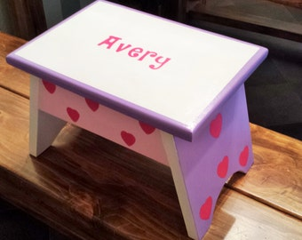 Step Stool or Foot Stool-White with Purple and Pink Hearts-Name Personalization and Hearts