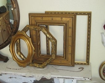 Beautiful Ornate Gilt 4 Piece Gallery Wall Collection - 3 Open Frames  - 1 Gold Veined & 1 Octagonal Mirror - Vintage -  Shabby Chic