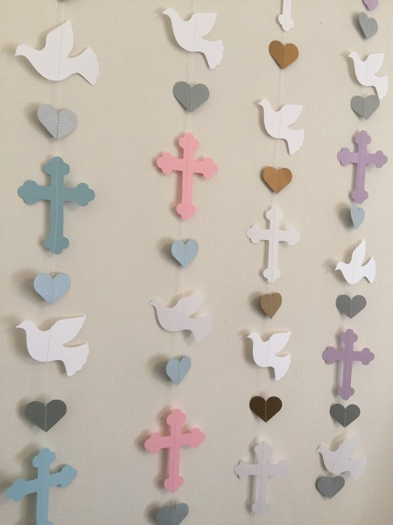 Christening Cross And Dove Garland Baptism By