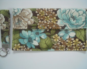 Lovely Hydrangea  Coupon Holder / Organizer / Wallet with Key Fob