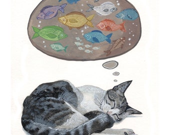 Cat Art Print - Art Print of Original Watercolor Painting - Cat Home Decor - Cat Nursery Art Print