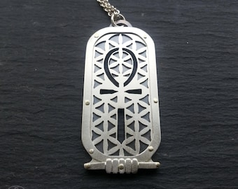 Egyptian Ankh Flower of Life Pendant - handcut sterling silver and 9ct gold.