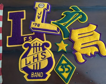 Vintage Varsity Letters L and W LHS Band Gold and Purple JV Basketball Letter Preppy High School Varsity Patches