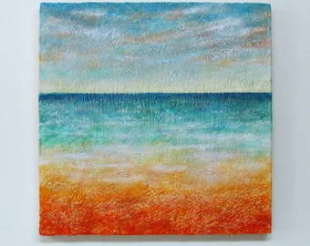 "Large Encaustic Painting-Original Abstract Landscape Seascape - 24"" X 24"" - Highly Textured Beeswax Painting-Encaustic Art- Minimal Painting"