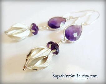 ULTRAVIOLET Purple Amethyst Earrings, Genuine Gemstone Sterling Silver Bezel Set Links, Karen Hill Tribe Artisans Fine Silver Beads, 30% off