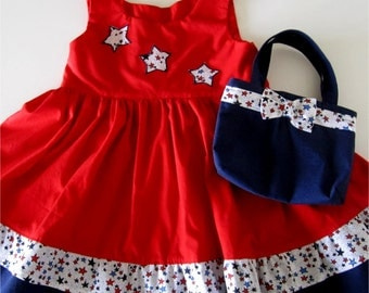 Girl's Red White And Blue Double Ruffled Dress And Purse Set Size 4