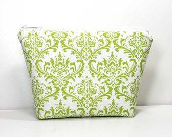 Large Zipper Pouch - Green Damask on White - Gadget Case - Makeup Pouch - Catch All Bag for Chargers Cords - Cosmetic Bag - Makeup Bag