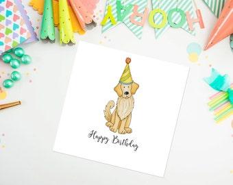 Golden Retriever Birthday Card, golden retriever, dog card, birthday card, ideal for dog lovers