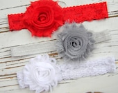 Set of 3 Chiffon Headbands - Lace Shabby Chic Headband - Red Chiffon Headband