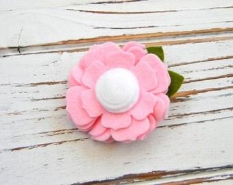 Pink Flower Hair Clip - Felt Flower Hair Clip