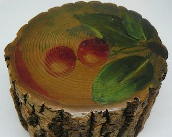 Vintage Rustic Tree Bark Inkwell Painted Cherries