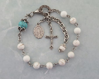 One Decade Rosary Bracelet, White Magnesite, Turquoise, Miraculous Medal, Strong Stainless Steel, Handcrafted,White Turquoise Rosary Jewelry
