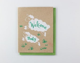 Sheep Welcome Baby - gender neutral baby card