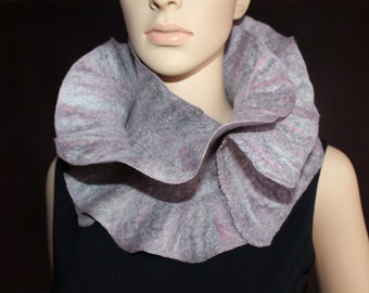 Handmade felted ruffle scarf ashy-gray, white and pink