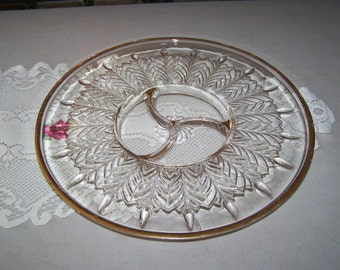 Vintage Glass Serving Platter With Gold Colored Trim