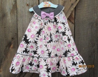 Girls pink black dress, twrilly dress, sundress, available to order, 2T, 3T, 4T, 5T