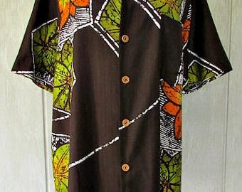vintage 70s mens hawaiian shirt L sears kings road