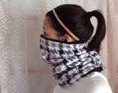 Black and white Mini chevron, Running Scarf, cowl, gator, Ski Mask, snood, tube scarf