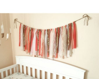 Gold and Coral Sequin Garland Fabric Garland Coral Wedding Decorations Bridal Shower Decor Nursery Wall Decorations Glitter Garlands
